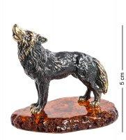 Am- 970 фигурка волк воющий на луну (латунь, янтарь)