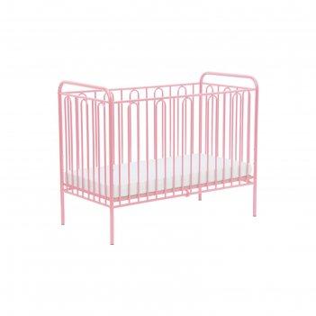 Детская кроватка polini kids vintage 110 металлическая, цвет розовый