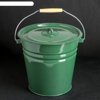 Ведро зелёное с крышкой, объём 12 л