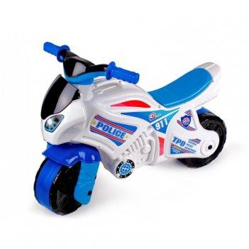 Т5514 каталка-мотоцикл беговел полиция 911 цвет бело-синий