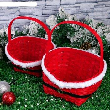 Набор корзин «красная шубка», 2 шт: 28x22x11/33,5 см, 22x17x9/27 см, шпон