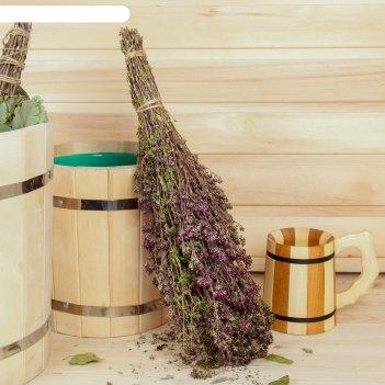 Веник для бани травяной из дущицы, в индивидуальной упаковке