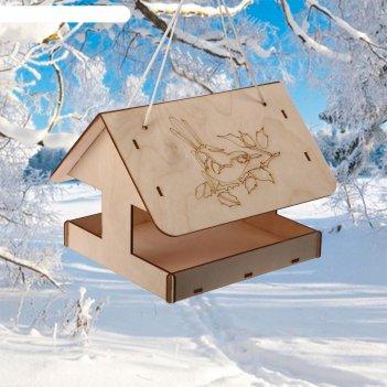 Кормушка для птиц домик с птичкой, 24х20х17 см