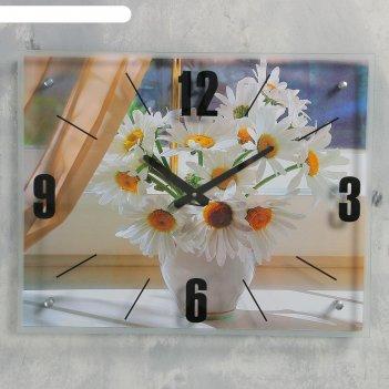 Часы настенные, серия: цветы, ромашки, 40х50  см, микс