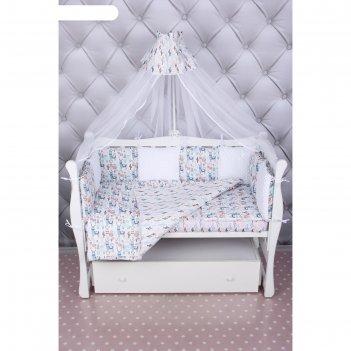 Комплект в кроватку, 18 предметов, бязь, цвет розовый, принт ламы