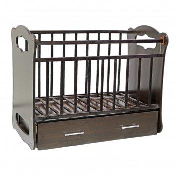 Детская кроватка бьянка с поперечным маятником и ящиком, цвет венге-венге