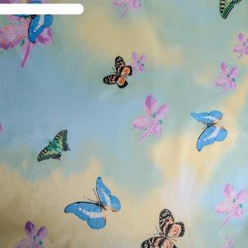 Штора для ванной 170x180 см бабочки в небе, полиэстер
