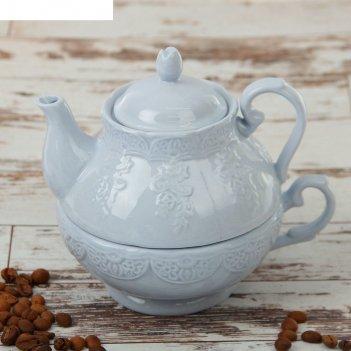 Набор чайный кружевная лоза 380 мл, 2 предмета: чайник, чашка, цвет голубо