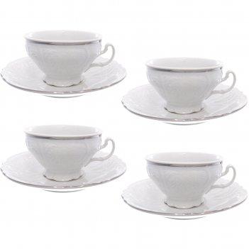 Набор чайных пар на 4 персоны 205 мл, 155 мм низкая bernadotte, деколь отв