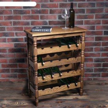 Стеллаж винный классический, на 20 бутылок, массив дуба, светлый дуб