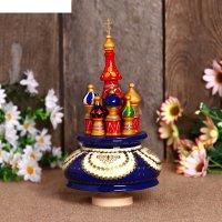 Сувенир-шкатулка музыкальная храм, 19х15,5 см, бело-синяя