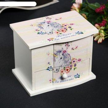 Шкатулка дерево комод 1 ящик музыкальная единорог в цветах 11х14,7х10,6 см