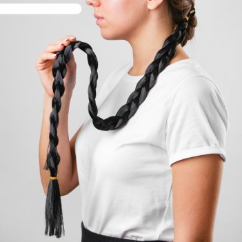 Коса на резинке брюнетка, длинна 85 см