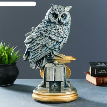 Копилка сова с книгой серебро 35см