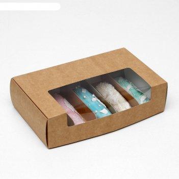 Коробка складная под 5 эклеров,крафт, 25,2 х 15 х 7 см