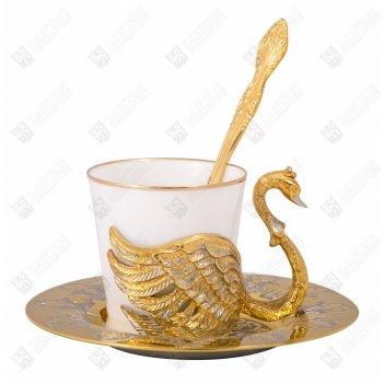 Набор кофейный лебеди на 1 персону ( тарель, чашка, ложка ) зл