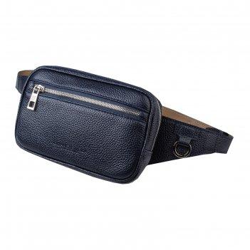 Поясная сумка, 2 отдела на молнии, регулируемый ремень, цвет синий
