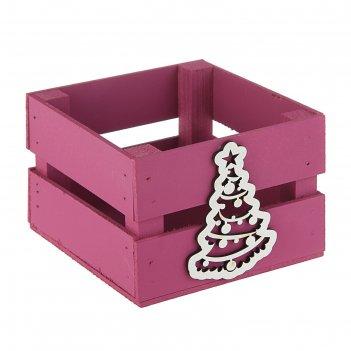 Ящик реечный «елочка»(декор) 13 х 13 х 9 см, бордо