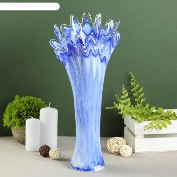 Ваза коралл-сосулька средняя, молочная с синим красит, в и/у 35см