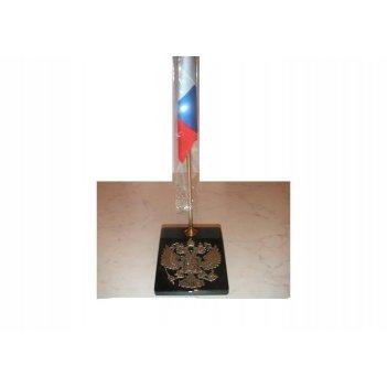 Флаг настольный россия с подставкой из камня.