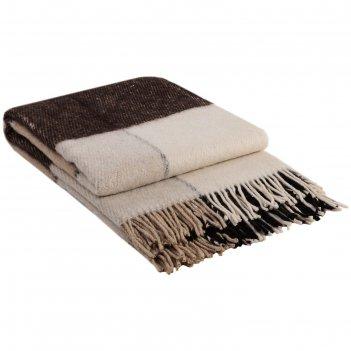 Плед шерстяной эльф, размер 140х200 см, цвет белый/бежевый/коричневый