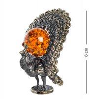 Am-1246 фигурка павлин (латунь, янтарь)