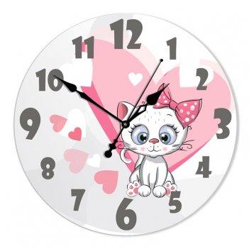 Настенные часы из стекла династия 01-073 белый котенок