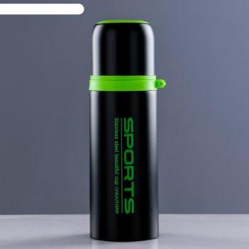 Термос спортивный 350 мл, 12 часов, черно-зелёный, 7х7х20 см