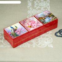 Шкатулка тройная «сакура», розовая,  лаковая миниатюра