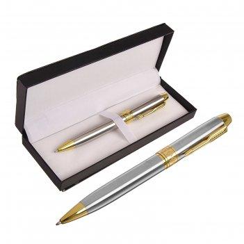 Ручка подарочная шариковая в кожзам футляре поворотная серебро с золот вст