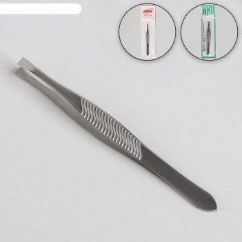Пинцет прямой, узкий, 8,5 см, цвет серебристый