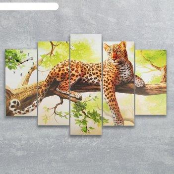 Часы настенные модульные «леопард на ветке», 80 x 140 см
