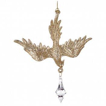 Декоративное изделие птичка 15*12 см цвет: шампань с золотом без упаковки