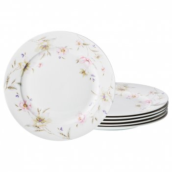 Набор тарелок из 6-ти шт. поцелуй гейши диаметр=26,5 см (кор=8наб.)