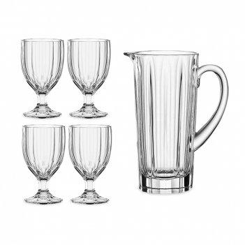 Набор из 5-ти предметов: кувшин и 4 бокала aspen, материал: хрустальное ст