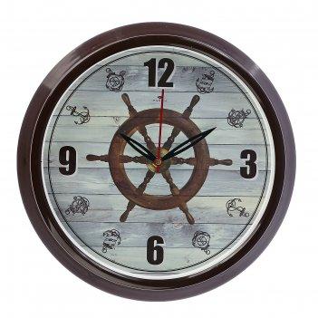 Часы настенные круглые штурвал, обод коричневый, 30х30 см