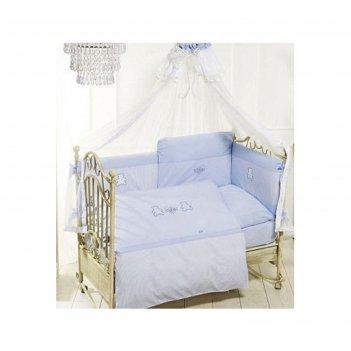 Комплект в кроватку orsetti, 6 предметов, цвет голубой