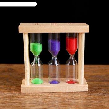 Часы песочные основание прямоуг1,3,5 минут, 9х8,5х3 см