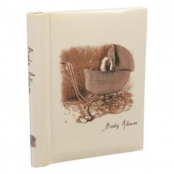 Фотоальбом магнитный 20 листов детский альбом. ретро-коляска 25,5х20х2,8 с