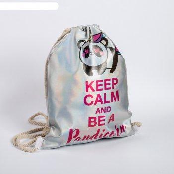 Сумка для обуви keep calm and be a pandicorn, кож.зам голография