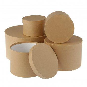Набор круглых коробок 5в1 бежевый холст, 30 х 30 х 17 - 15 х 15 х 10 см