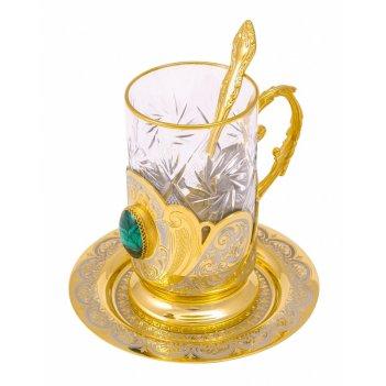 Набор чайный малахит (тарель, подстаканник, ложка) златоуст