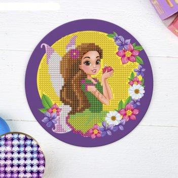 Алмазная мозаика для детей фея на круглой основе + емкость, стерж, клеев п