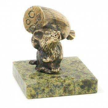 Статуэтка крыса с батоном сыра змеевик бронза