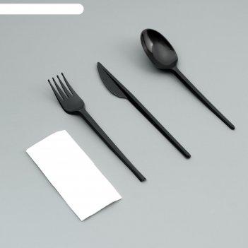 Набор одноразовой посуды вилка, ложка, нож, салфетка черный цвет