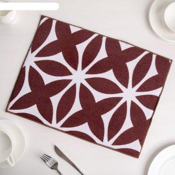 Коврик для сушки посуды 30x40 см призма, микрофибра, цвет коричневый
