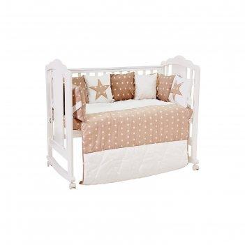 Комплект в кроватку «звезды», 5 предметов, цвет макиато