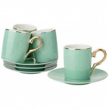 Кофейный набор на 4пер. 8пр. 90мл, зелено-голубой (кор=12наб.)