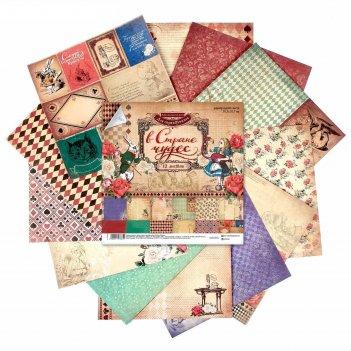 Набор бумаги для скрапбукинга «в стране чудес», 12 листов, 30,5 х 30,5 см