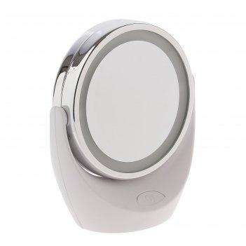 Зеркало косметическое marta mt-2646, led-подсветка, увеличение, от батарее